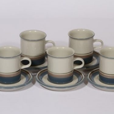 Arabia Uhtua kahvikupit, 5 kpl, suunnittelija Inkeri Leivo, raitakoriste