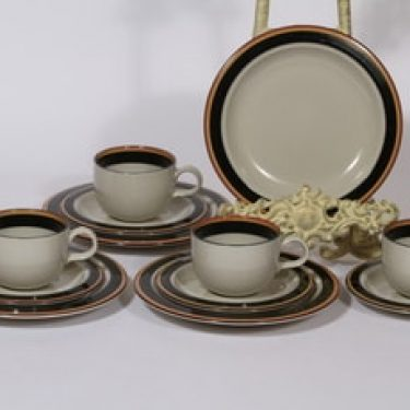 Arabia Reimari kahvikupit ja lautaset, 4 kpl, suunnittelija Inkeri Leivo, raitakoriste