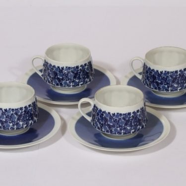 Arabia Doria kahvikupit, sininen, 4 kpl, suunnittelija Raija Uosikkinen, serikuva