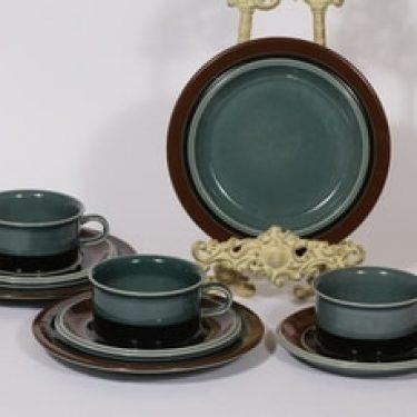 Arabia Meri teekupit ja leivoslautaset, turkoosi, 3 kpl, suunnittelija Ulla Procope,