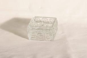 Riihimäen lasi Taalari kynttilänjalka, kirkas, suunnittelija Tamara Aladin,