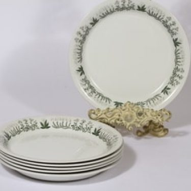 Arabia Polaris lautaset, matala, 6 kpl, suunnittelija Raija Uosikkinen, matala, serikuva, kukka-aihe