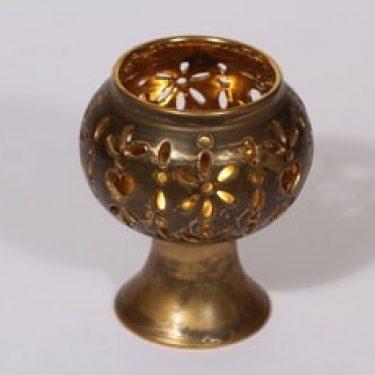 Savitorppa kynttilälyhty, signeerattu, suunnittelija Garizim Hansen, signeerattu, käsindreijattu, kullattu