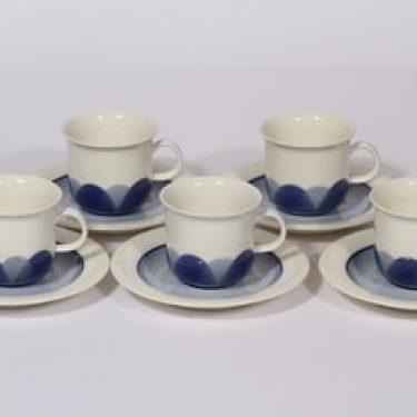 Arabia Arctrica Pudas kahvikupit, sininen, 5 kpl, suunnittelija Inkeri Leivo, serikuva