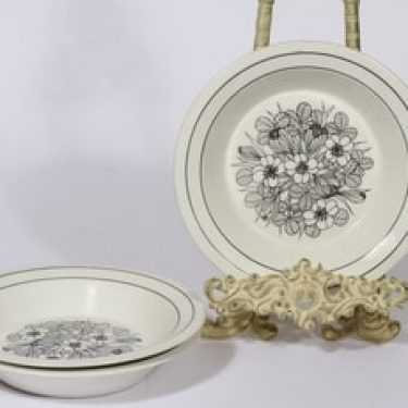 Arabia Krokus lautaset, syvä, 3 kpl, suunnittelija Esteri Tomula, syvä, serikuva