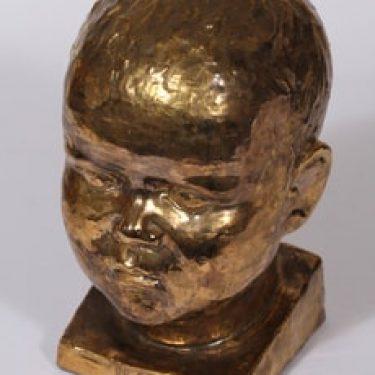 Savitorppa patsas, Ilkka-pää, suunnittelija Kauko Forsvik, Ilkka-pää, signeerattu, käsinmuotoiltu, kullattu