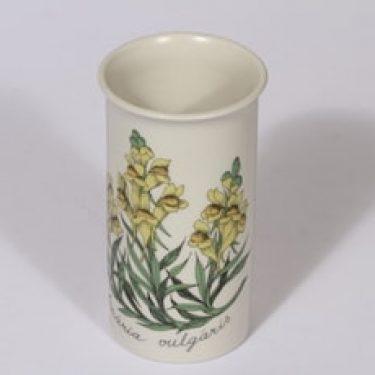 Arabia Botanica maljakko, Kannusruoho, suunnittelija Esteri Tomula, Kannusruoho, serikuva, kukka-aihe