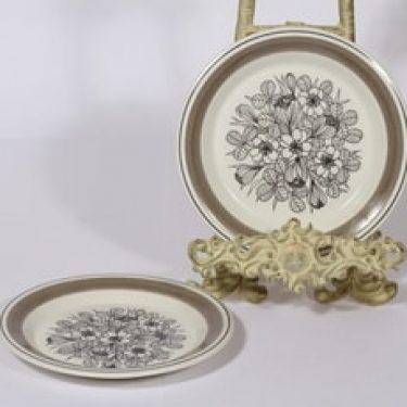 Arabia Krokus lautaset, 2 kpl, suunnittelija Esteri Tomula, pieni, serikuva, kukka-aihe