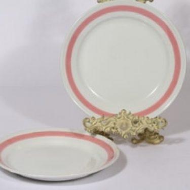 Arabia Punavalko lautaset, matala, 2 kpl, suunnittelija , matala, raitakoriste