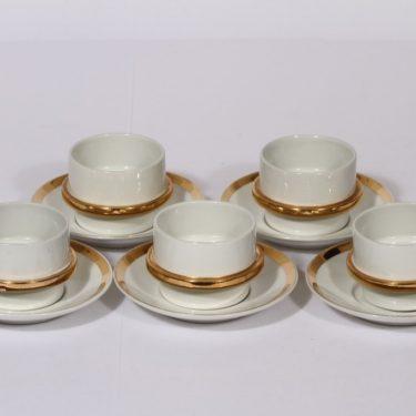 Arabia Kultavanne kahvikupit, 5 kpl, suunnittelija , kultakoriste