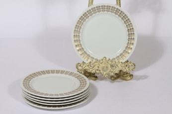 Arabia Pallas lautaset, 6 kpl, suunnittelija Raija Uosikkinen, ornamentti, kultakoriste