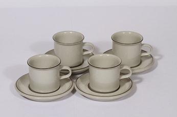 Arabia Fennica kahvikupit, ruskea, 4 kpl, suunnittelija Richard Lindt, raitakoriste