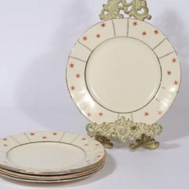 Arabia Viktoria lautaset, matala, 6 kpl, suunnittelija , matala, painokoriste, art deco