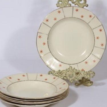Arabia Viktoria lautaset, syvä, 6 kpl, suunnittelija , syvä, painokoriste, art deco