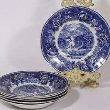 Arabia Maisema lautaset, syvä, 6 kpl, suunnittelija , syvä, kuparipainikoriste