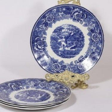Arabia Maisema lautaset, sininen, 4 kpl, suunnittelija , kuparipainokoriste