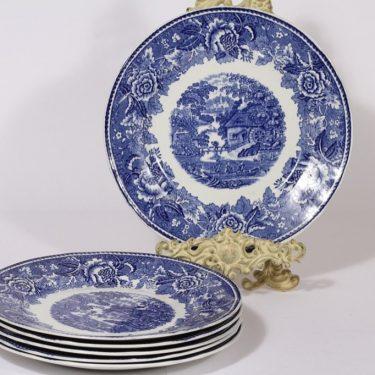 Arabia Maisema lautaset, sininen, 6 kpl, suunnittelija , kuparipainokoriste