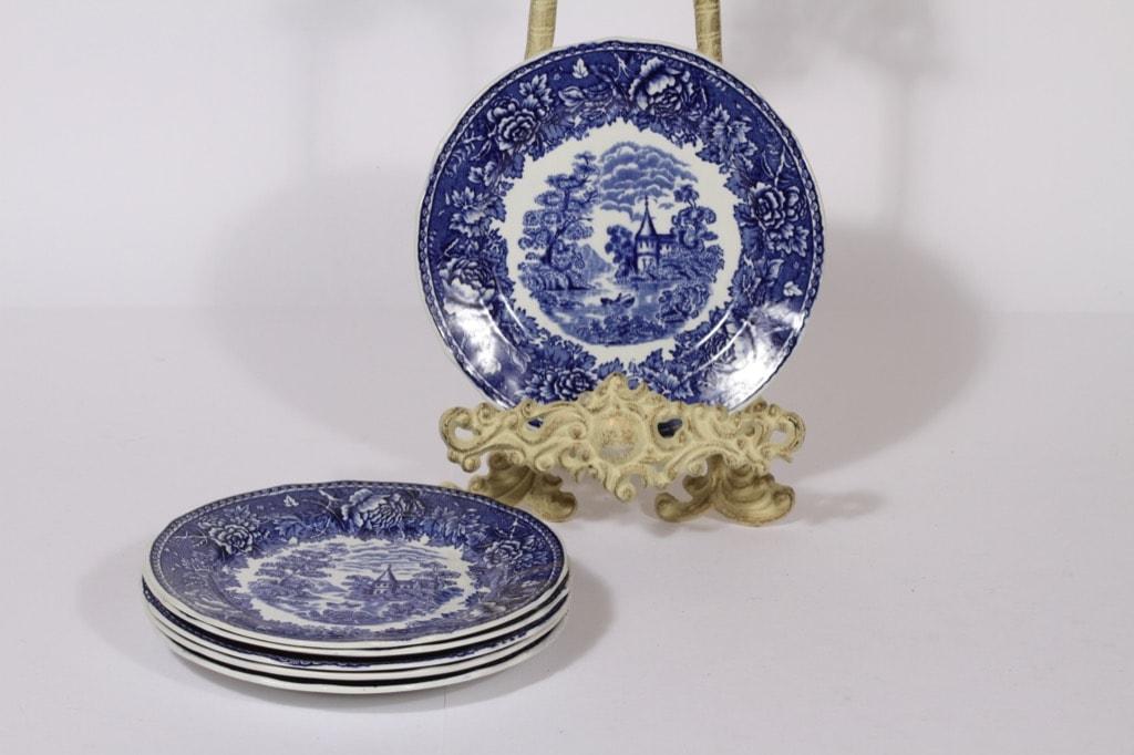 Arabia Maisema lautaset, sininen, 6 kpl, suunnittelija , pieni, kuparipainokoriste