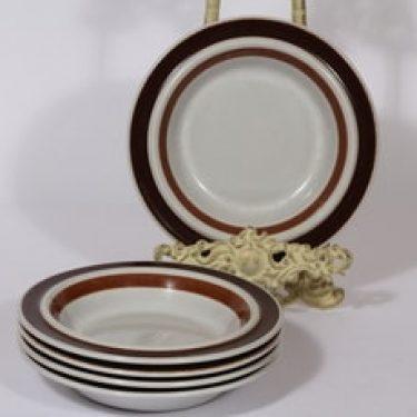 Arabia Rosmarin lautaset, syvä, 5 kpl, suunnittelija Ulla Procope, syvä, raitakoriste