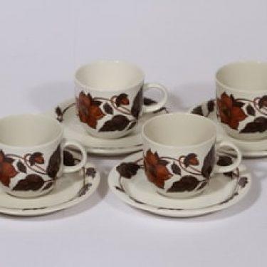Arabia Tea for two kahvikupit, ruskea, 4 kpl, suunnittelija Gunvor Olin-Grönqvist, serikuva