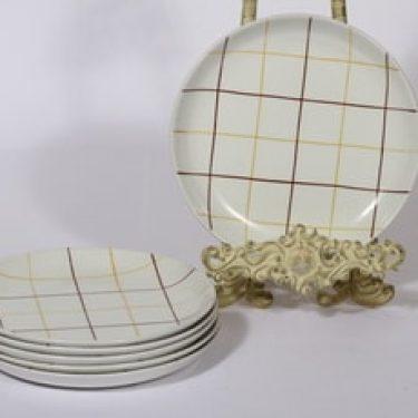 Arabia Verkko lautaset, matala, 6 kpl, suunnittelija Raija Uosikkinen, matala, viivakoriste
