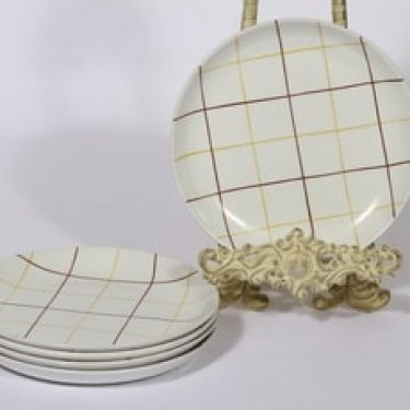 Arabia Verkko lautaset, matala, 5 kpl, suunnittelija Raija Uosikkinen, matala, viivakoriste