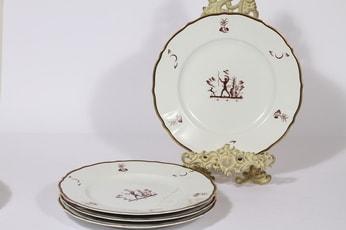 Arabia Diana lautaset, matala, 4 kpl, suunnittelija Einar Forseth, matala, suuri, siirtokuva, art deco