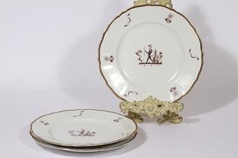 Arabia Diana lautaset, matala, 3 kpl, suunnittelija Einar Forseth, matala, suuri, siirtokuva, art deco