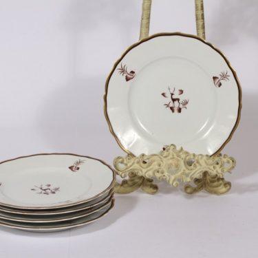 Arabia Diana lautaset, matala, 5 kpl, suunnittelija Einar Forseth, matala, pieni, siirtokuva, art deco