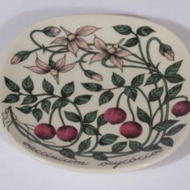 Arabia Botanica koristelautanen, Isokarpalo, suunnittelija Esteri Tomula, Isokarpalo, pieni, serikuva