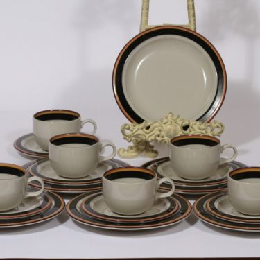 Arabia Reimari kahvikupit ja lautaset, 6 kpl, suunnittelija Inkeri Leivo, raitakoriste
