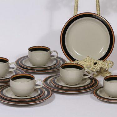 Arabia Reimari kahvikupit ja lautaset, 5 kpl, suunnittelija Inkeri Leivo, raitakoriste