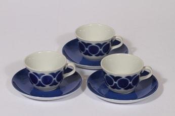 Arabia RL kahvikupit, sininen, 3 kpl, suunnittelija , puhalluskoriste