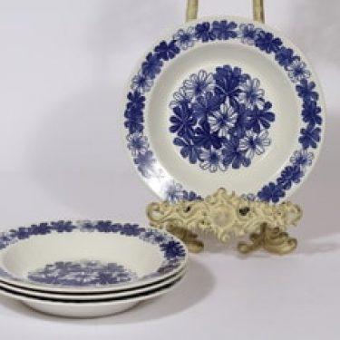 Arabia Sinikukka lautaset, syvä, 4 kpl, suunnittelija Esteri Tomula, syvä, serikuva, lehti-aihe
