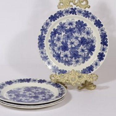 Arabia Sinikukka lautaset, matala, 4 kpl, suunnittelija Esteri Tomula, matala, serikuva, lehti-aihe