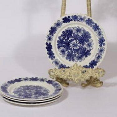 Arabia Sinikukka lautaset, sininen, 4 kpl, suunnittelija Esteri Tomula, serikuva, lehti-aihe, pieni