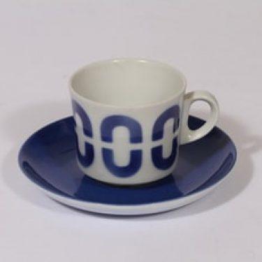 Arabia BR kahvikuppi, sininen, suunnittelija Göran Bäck, puhalluskoriste, retro, nimetön koriste