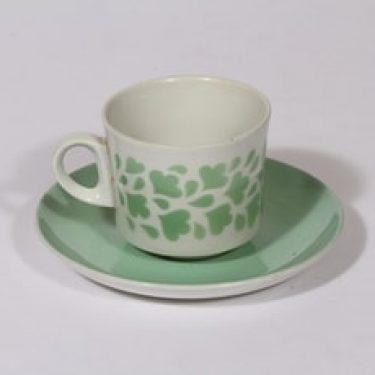 Arabia BR kahvikuppi, vihreä, suunnittelija Göran Bäck, puhalluskoriste, retro, nimetön koriste