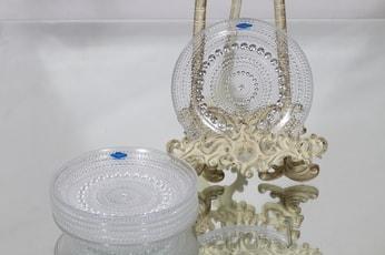 Nuutajärvi Kastehelmi lautaset, kirkas, 6 kpl, suunnittelija Oiva Toikka, pieni, kirkas