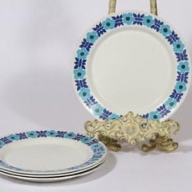 Arabia Ahmet lautaset, sininen, 4 kpl, suunnittelija Raija Uosikkinen, pieni, serikuva, retro