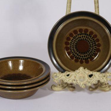 Arabia Kosmos lautaset, syvä, 4 kpl, suunnittelija Gunvor Olin-Grönqvist, syvä, puhalluskoriste