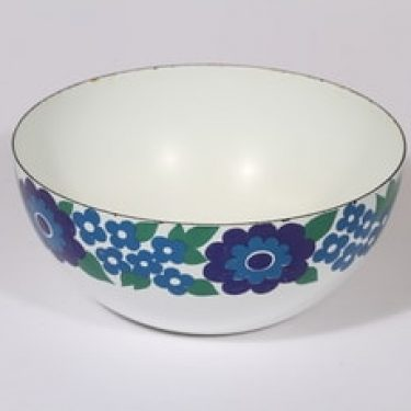 Finel Elisa kulho, sininen, suunnittelija Esteri Tomula, kukka-aihe, retro