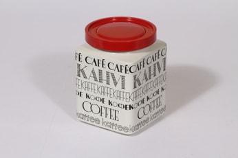Arabia Kahvi kahvipurkki, suunnittelija Esteri Tomula, suuri, tekstikuvio