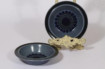 Arabia Kosmos lautaset, syvä, 2 kpl, suunnittelija Gunvor Olin-Grönqvist, syvä, puhalluskoriste, retro