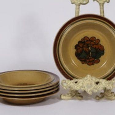 Arabia Otso lautaset, 5 kpl, suunnittelija Raija Uosikkinen, syvä, erikoiskoriste, retro