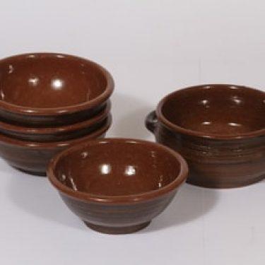 Savitorppa kulhoja, ruskea, 5 kpl, suunnittelija Erkki Stenius,