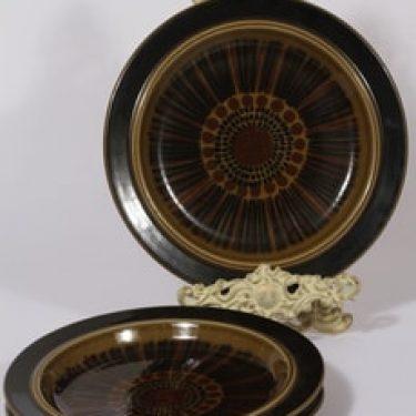 Arabia Kosmos lautaset, ruskea, 3 kpl, suunnittelija Gunvor Olin-Grönqvist,