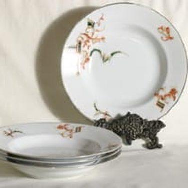 Arabia lautaset, syvä, 4 kpl, suunnittelija , syvä, siirtokuva, tuntematon koriste