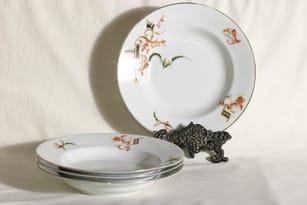 Arabia soup plates, 4 pcs, transfer, unknown decoration
