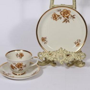 Arabia Myrna kahvikuppi ja lautanen, suunnittelija Olga Osol, serikuva